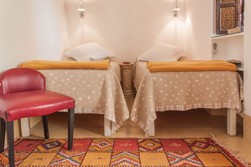 Fatima room has two single beds OR a double bed and a walk in bathroom and small living room