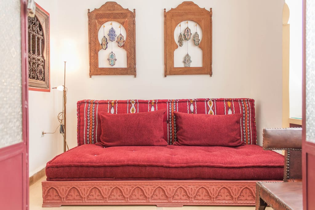 Fatima room has a double bed or two single beds and a walk in bathroom and small living room