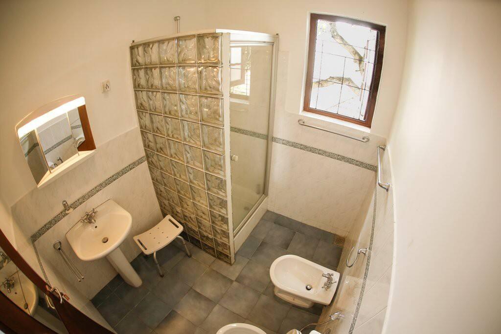Bathroom with solar heated shower