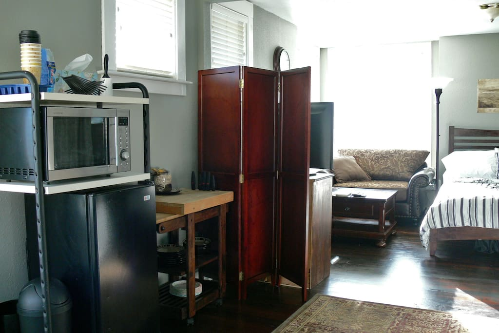 Kitchen station - Microwave, Refrigerator, Coffee Maker, Butcher Block, Dishes and more!