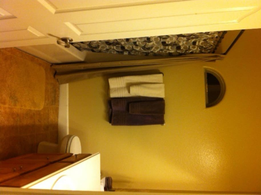 Guest bathroom- for your sole use, comes with linens and little hotel soaps :-)
