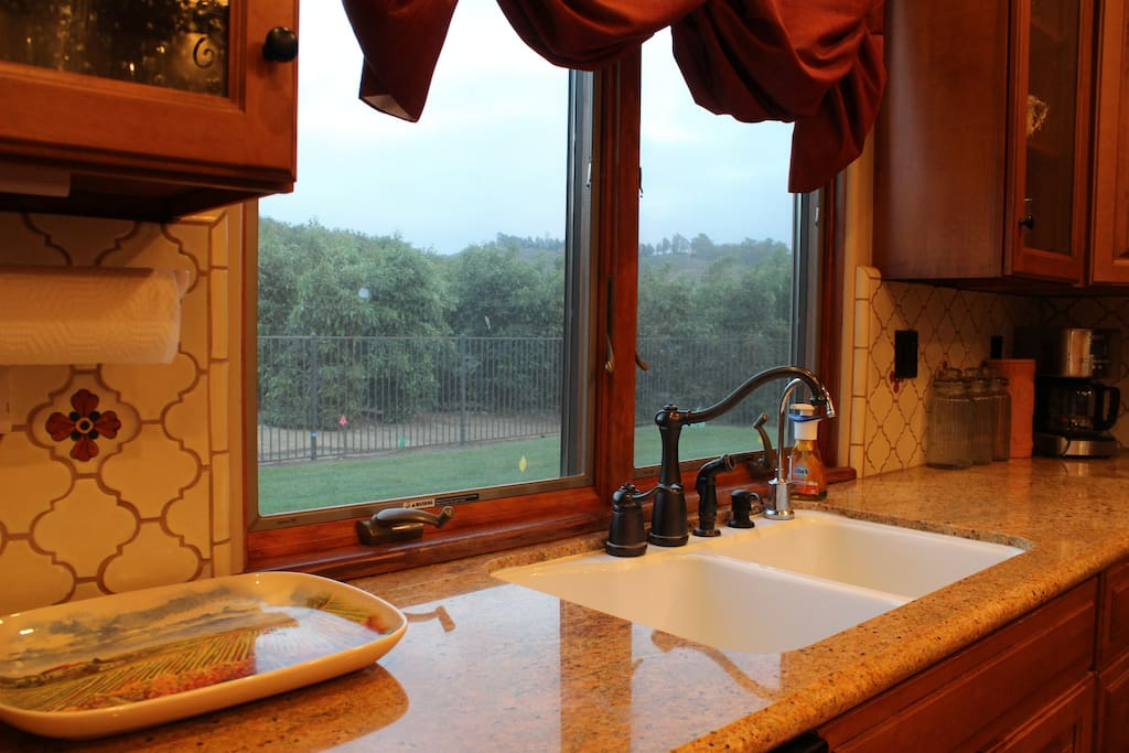 Kitchen Sink with view of orchards