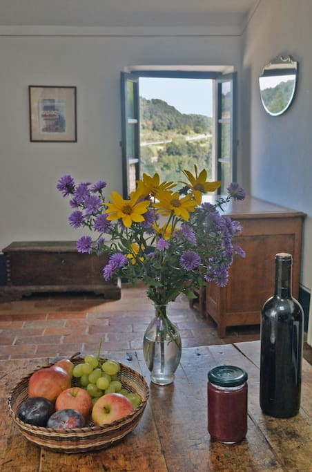 Fresh fruit and flowers from the garden, with jam and wine made by the host upon your arrival.