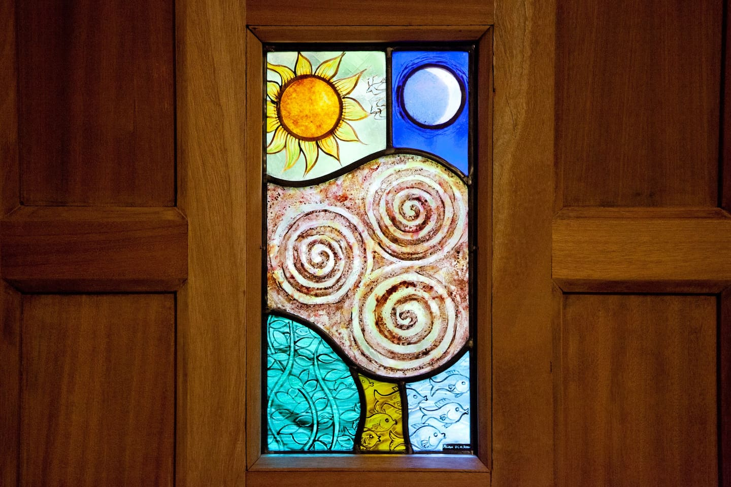 Front door panel with stained glass made by Alan