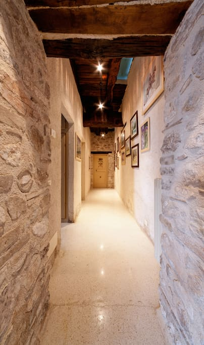 Corridor with Rita's paintings