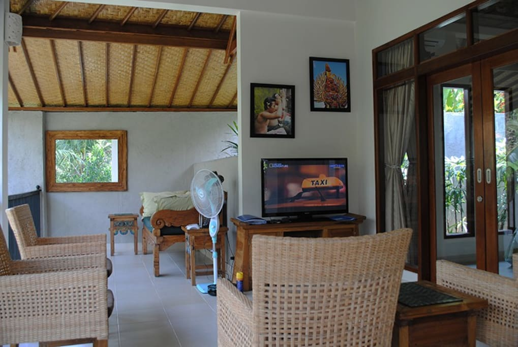 The living area runs onto the day bed area. All have great views.