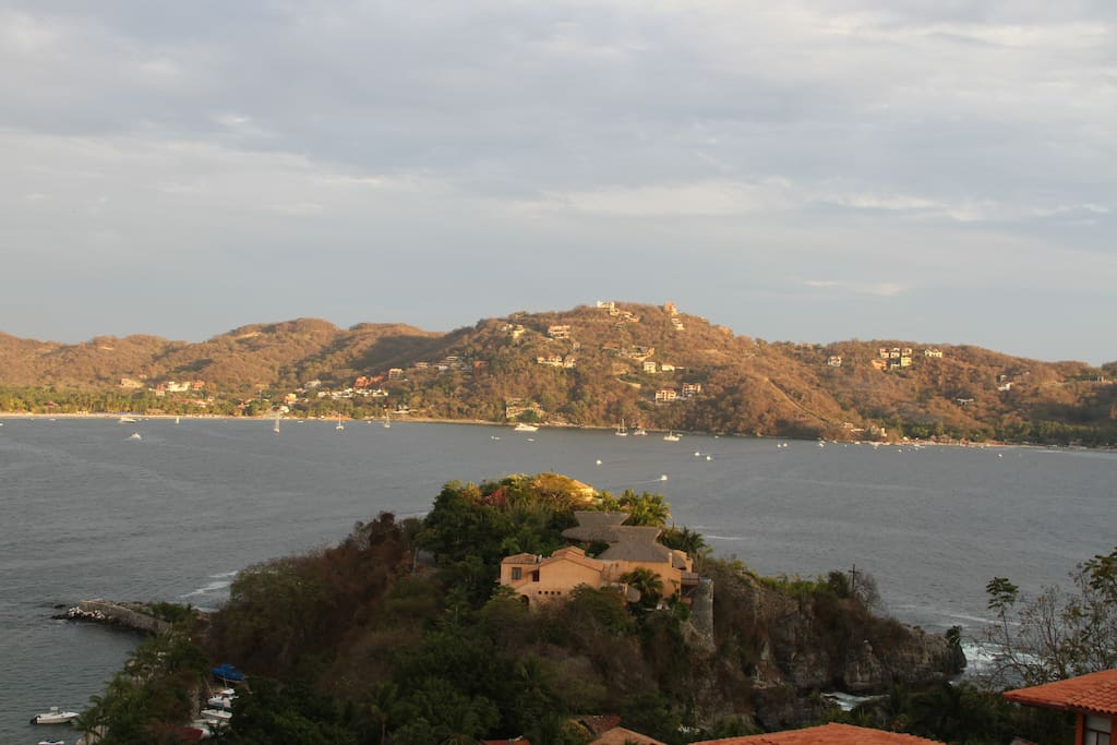 East view from the terrace- Zihuatanejo Bay, Playa Madera, Playa La Ropa