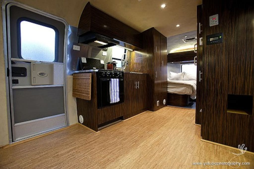 Airstream entrance and kitchen area