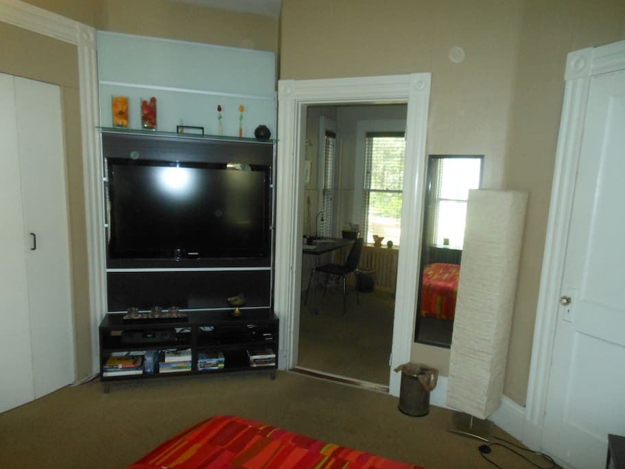 Large screen TV and view into second room