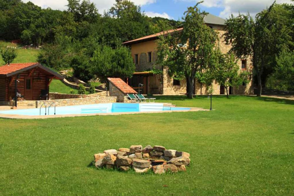 the sauna, the stone house and the pool