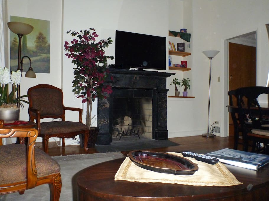 Old marble fireplace in living room