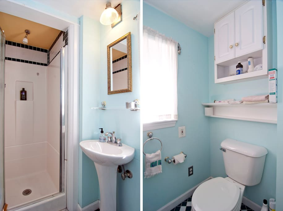 two photos of bathroom, shower door open on the left, showing the bath soap on the shower shelf.