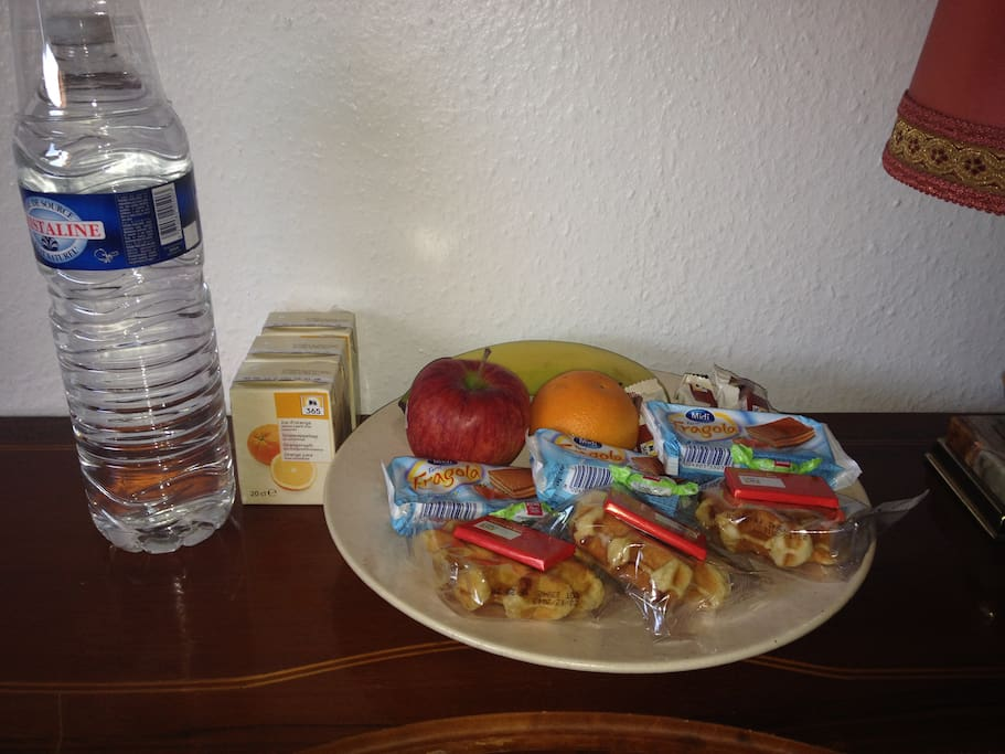 Some snacks and fruit in the morning