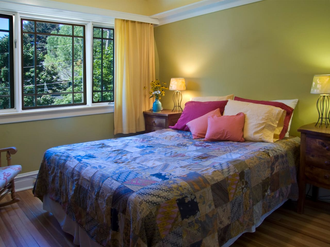 Comfortable Queen Size Bed, view of quiet residential street
