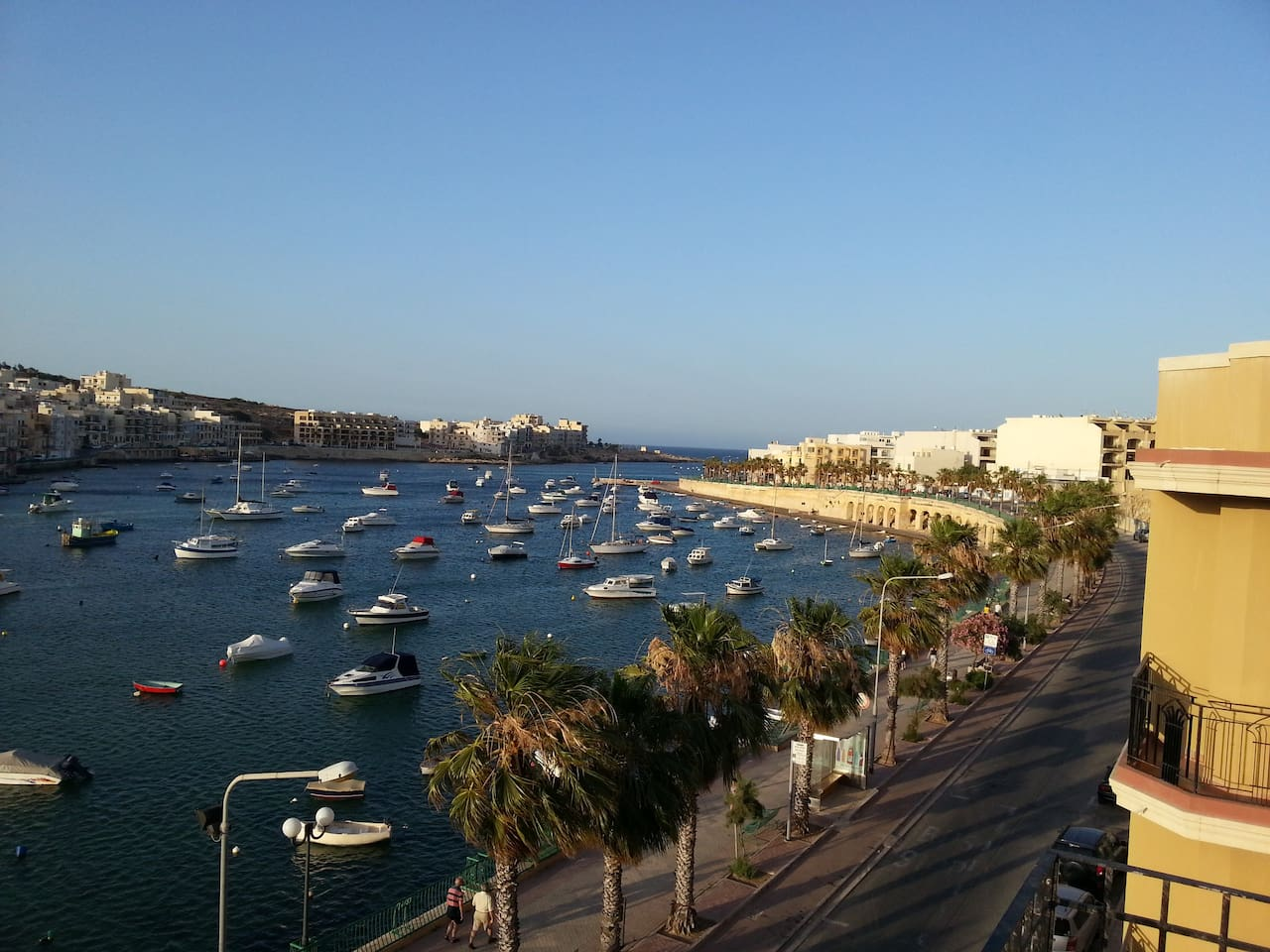 The view of Marsascala Bay from the roof terrace of Akwador Guest House