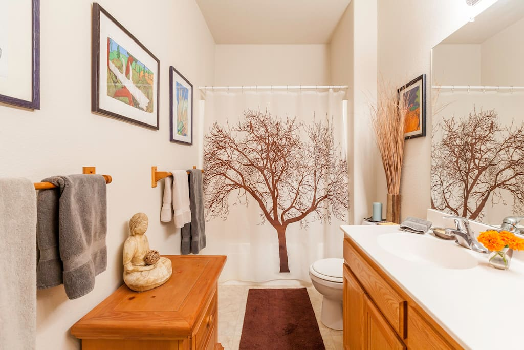 Spa-like private bathroom. Spa robes provided for your stay.