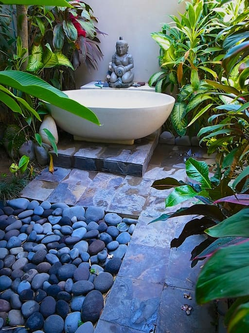 Out door bath for couple, very hot with garden lighting. for me this better then any pool, so relaxing.