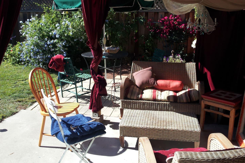 Beautiful backyard lounge area.