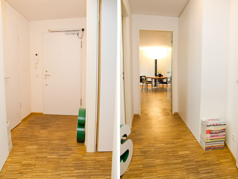 Your room and bathroom are separated by the entrance hall from the remaining apartment (where I live).