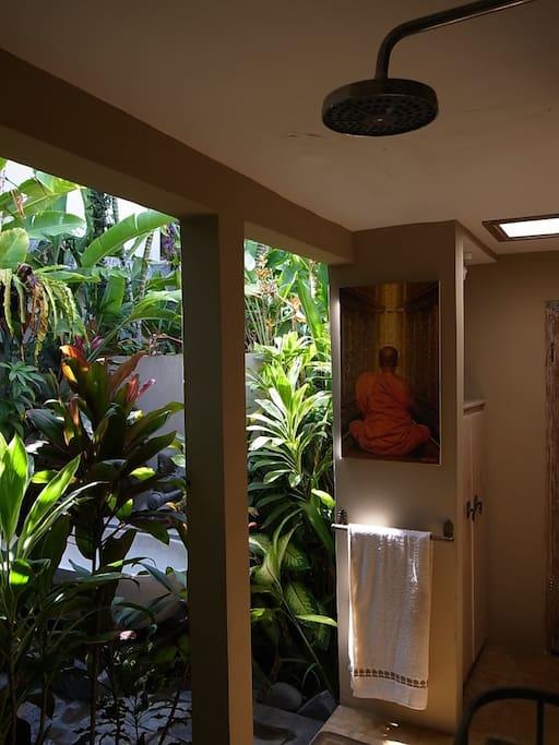serene garden surrounding while you shower….