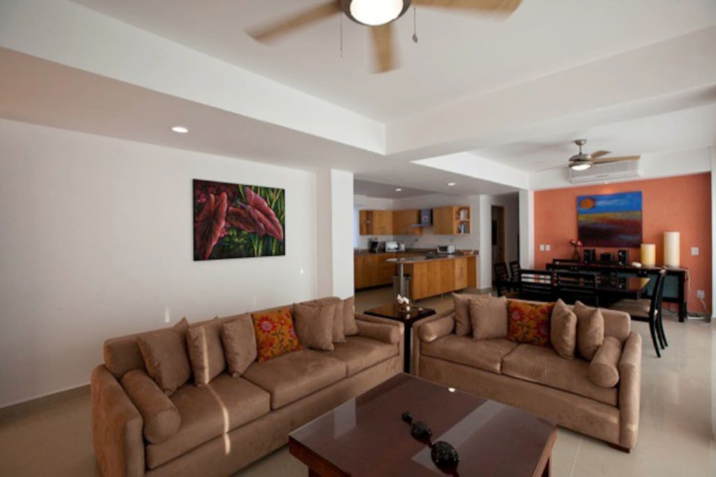 Living room with comfortable couches