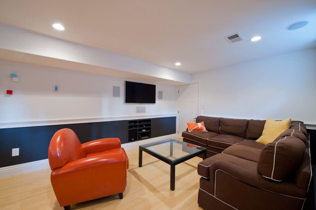 Comfy sectional with a great entertainment setup