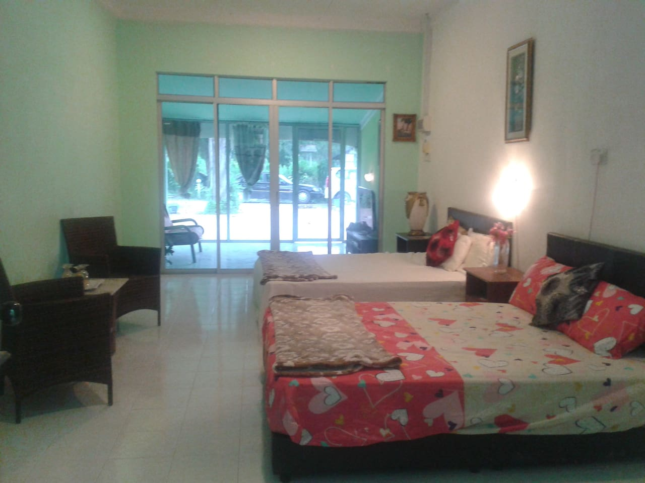 Spacious family room with two double beds