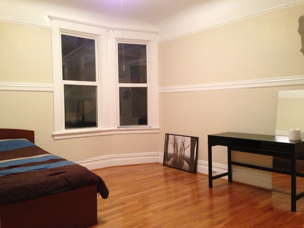 The room is very spacious with desk, chair, dresser, and a very comfortable memory foam bed. All windows now have blinds.
