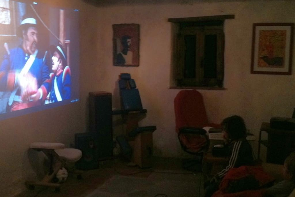New Home Cinema at the guest house. Connect your own Mac, PC or USB media loaded with films, or watch ours.