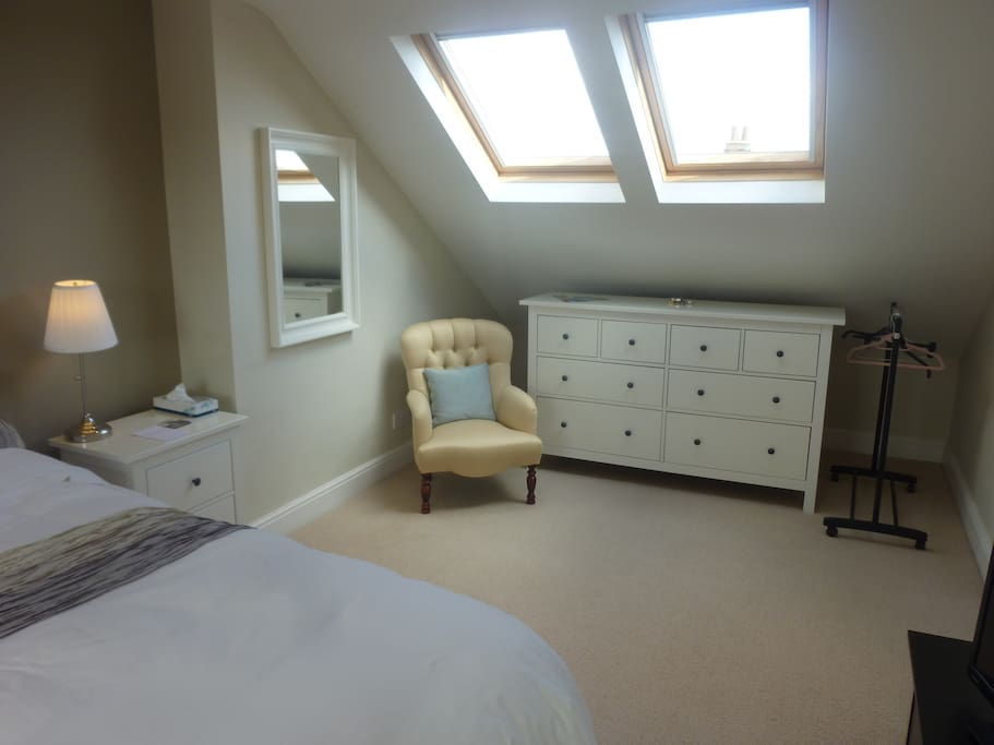 Two velux windows can allow the light in or be darkened for a great night's sleep with the fitted blackout blinds.