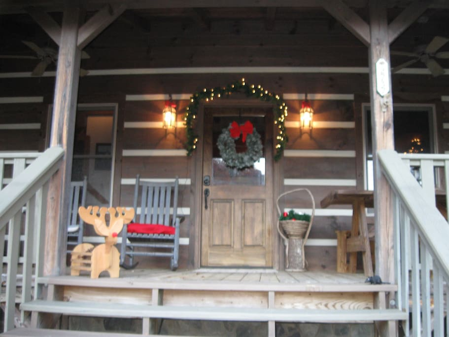 Front porch ready for Christmas.