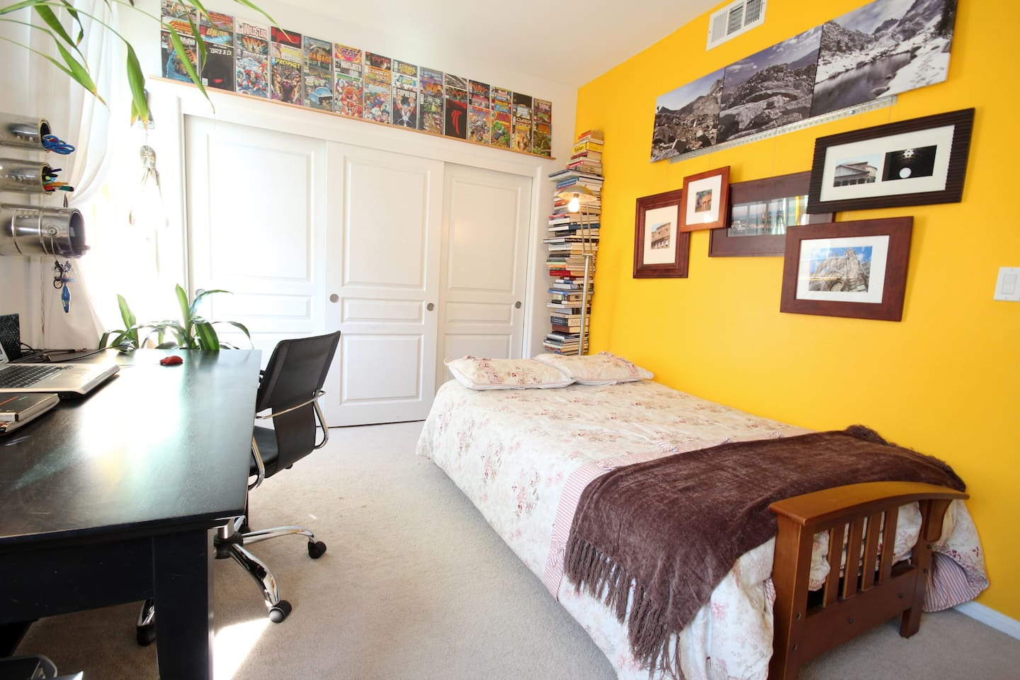 Your private room with a cozy and quite comfortable bed, a desk and closet space :-)