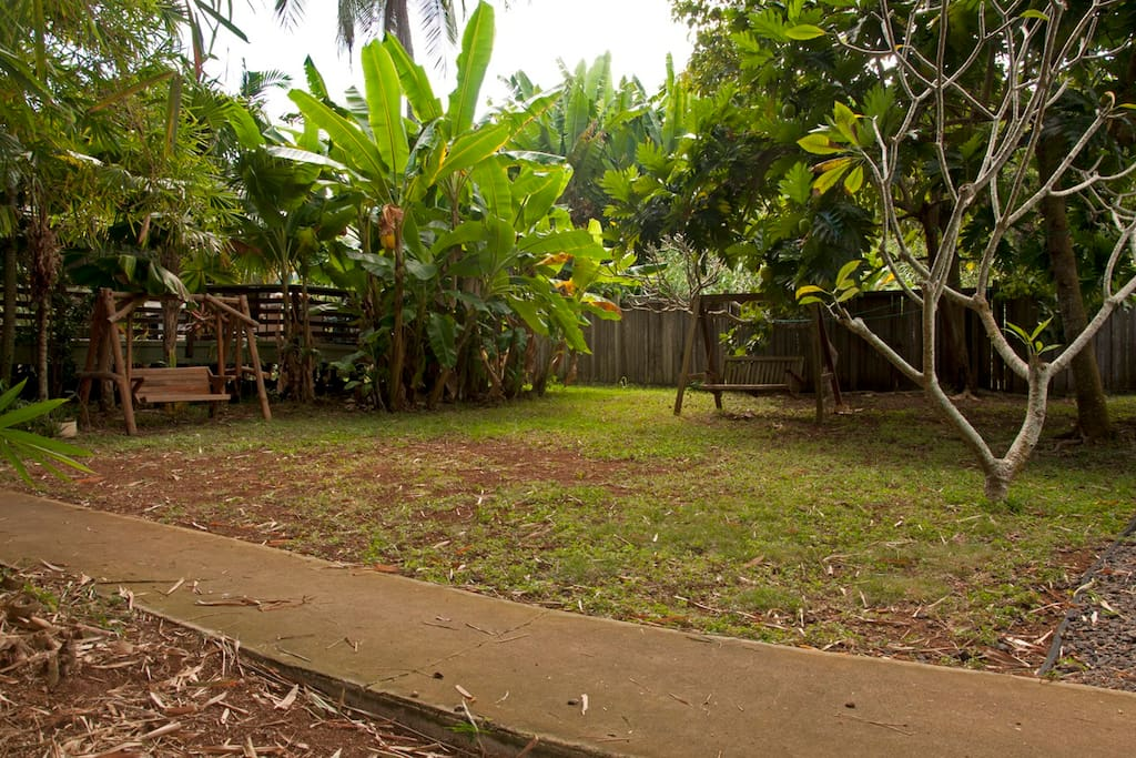 The yard comes complete with two sets of swings, plenty of fresh air, a grove of 40'+ tall bamboo and a small water pond right outside the kitchen window.