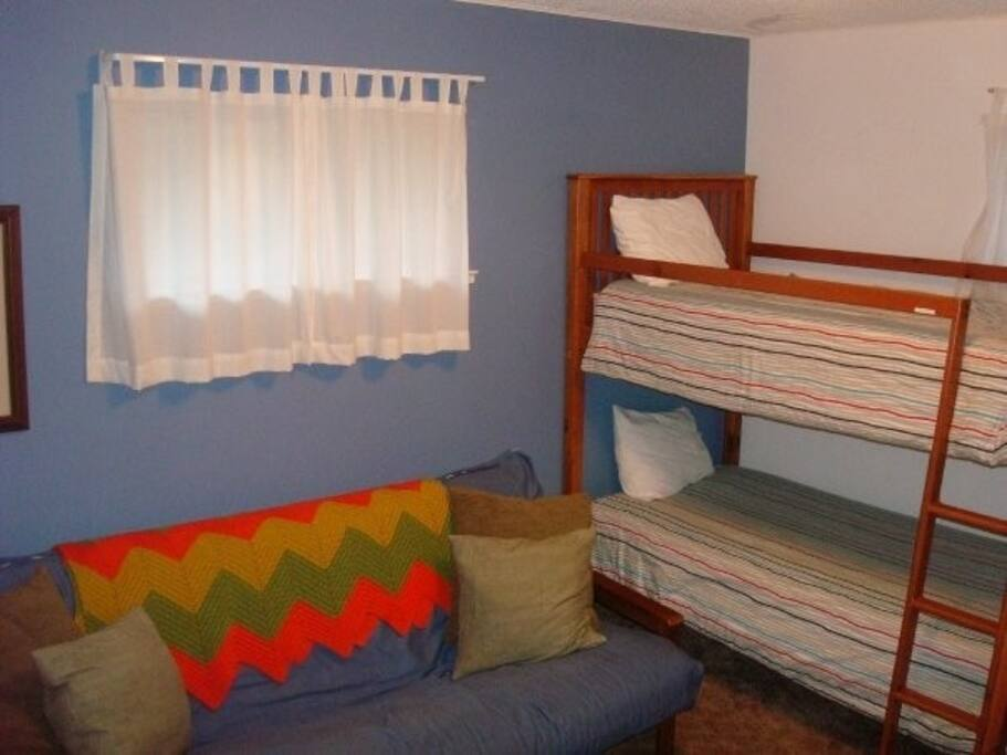 Winter Room-Twin over twin bunk, twin bed and queen futon in this room