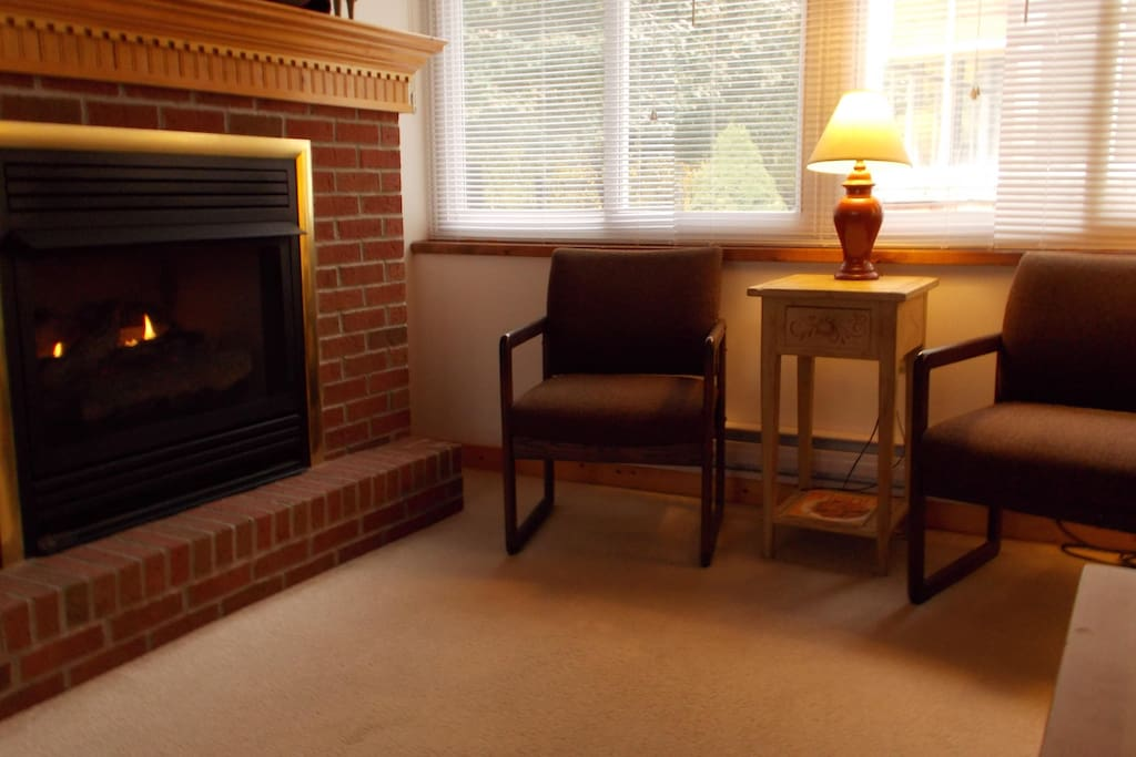warm and cozy fireplace in the parlor