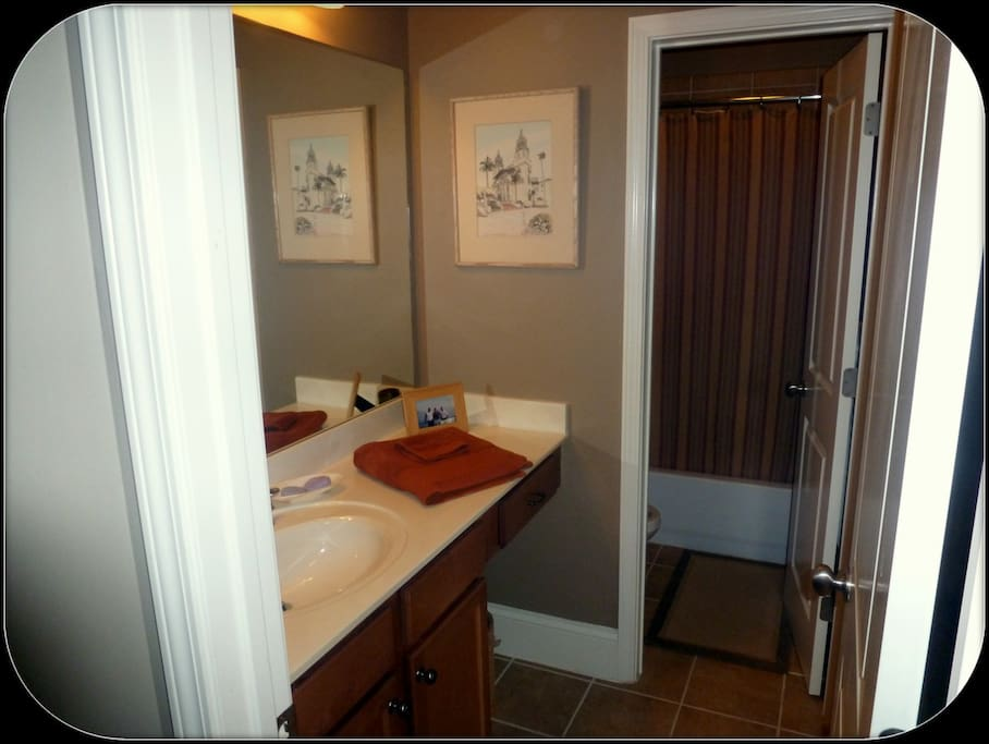 View into guest bathroom which may be shared with bedroom #1 and #2...