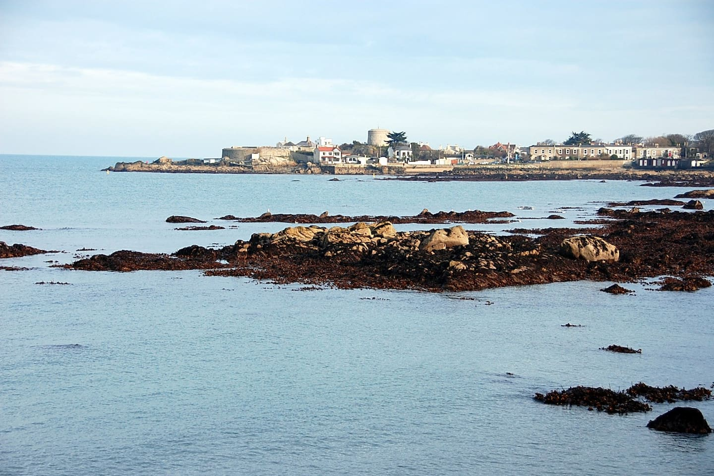 A view of Sandycove with Joyce's Tower in the Distance...