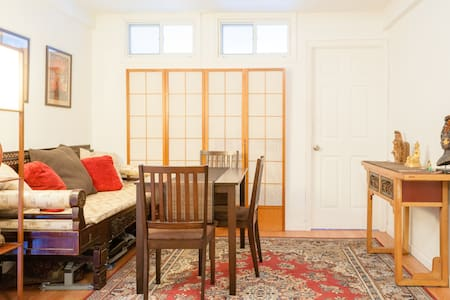 Big bedroom with queen bed and dresser. Located in the heart of Chinatown, you'll be steps away from Little Italy, SoHo, Tribeca, and the Lower East Side. Amazing subway access - only 20 minutes to Times Square and the theater district!