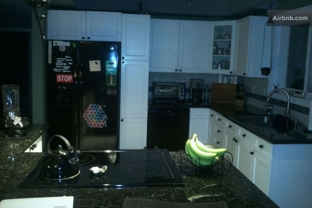 Shared kitchen with all the necessary appliances and amenities.