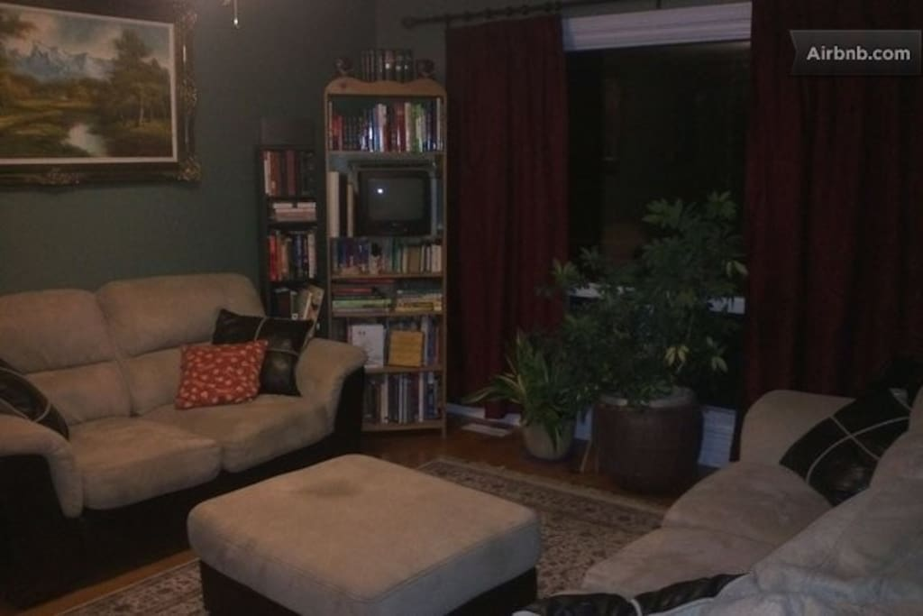 Comfortable sitting area. Guest also have access to the rec room in the basement with TV and gaming consoles and bar.