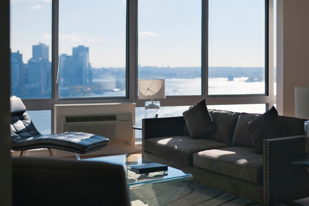 Floor-to-Ceiling Windows in the Living Room with Manhattan Views