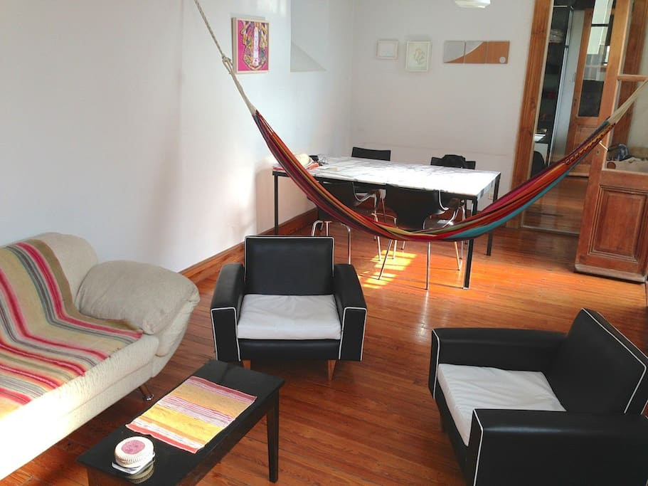 Living room : hammock and marble table