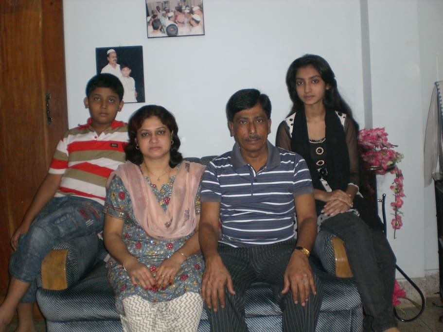 Shahidul Islam with family in drawing room