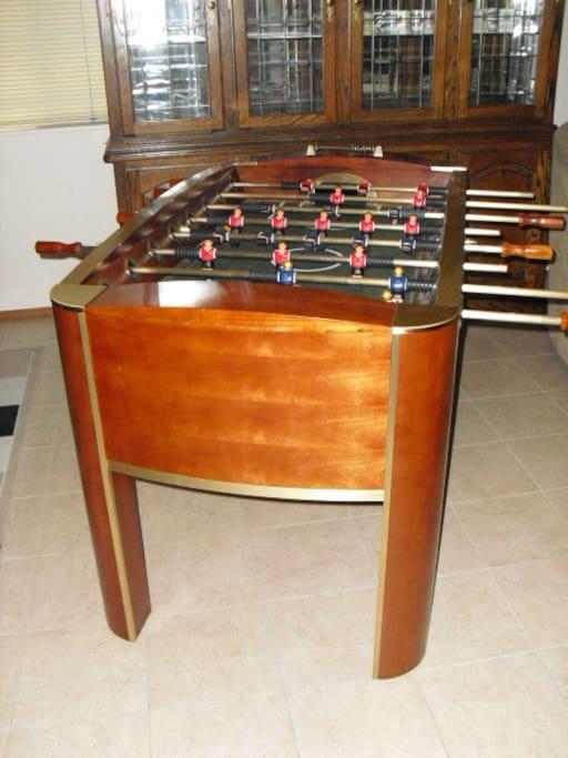 Foosball table in downstairs rec-room
