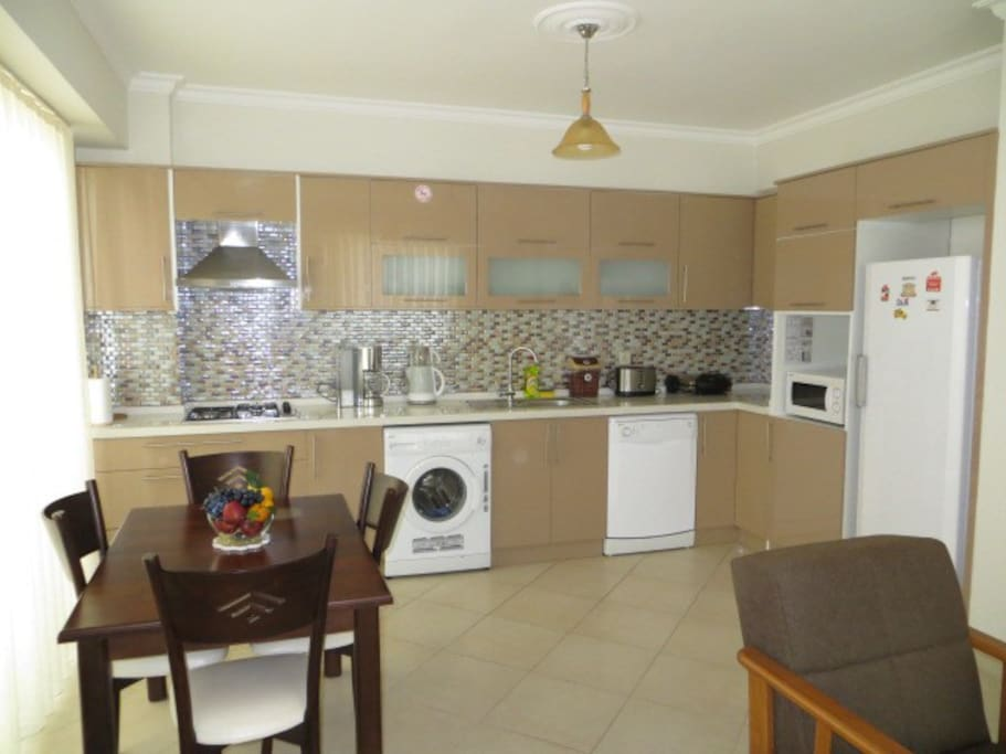 Good kitchen area with all modern, white goods and full instructions how to use.