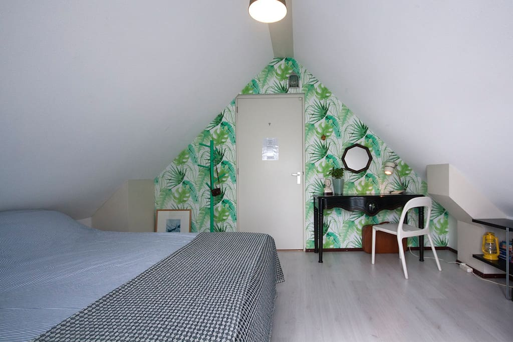 Your room with private rooftop terrace - King bed with comfy matrasses and desk