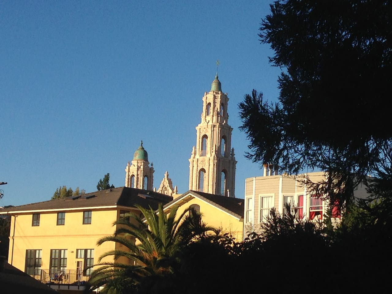 The beautiful view of Mission Dolores from the deck