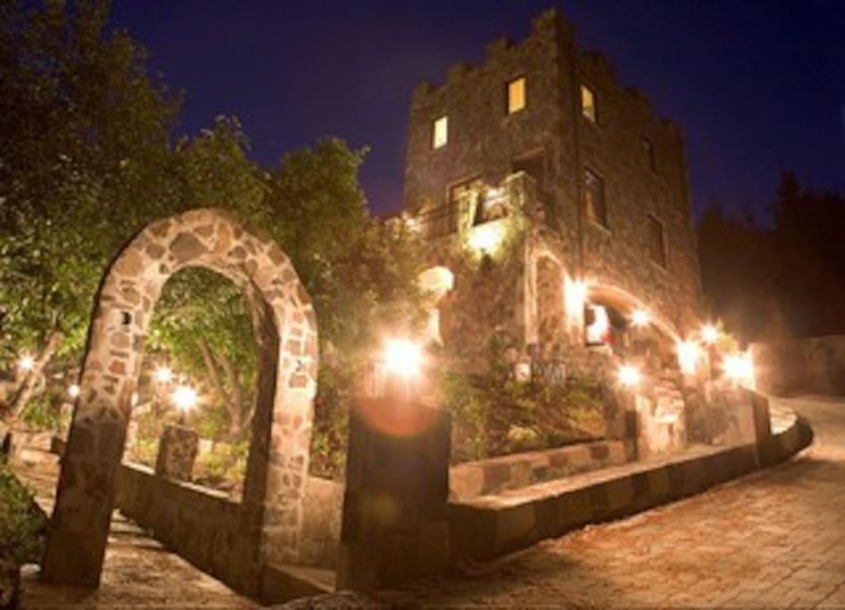 The beautiful Castle tower at night.