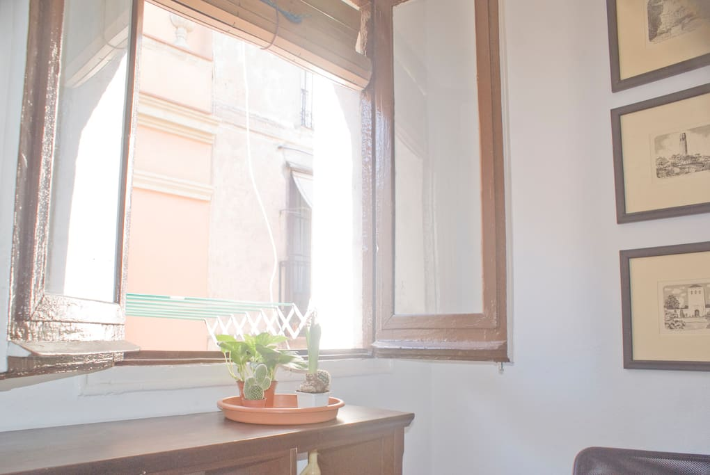 Window with street view in the living room.