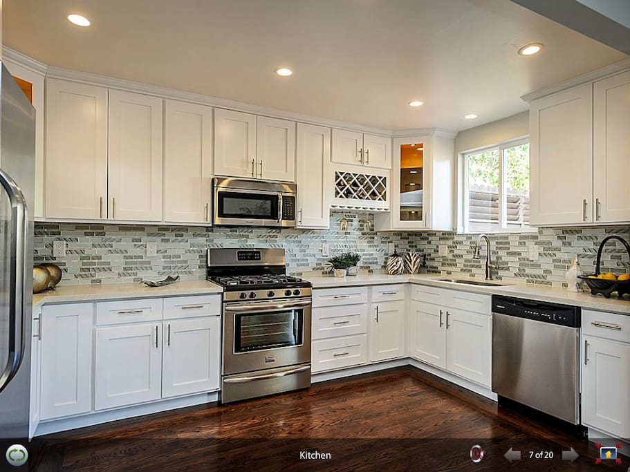 Hi-end, fully remodeled kitchen with new fridge, microwave, open-stove and dishwasher